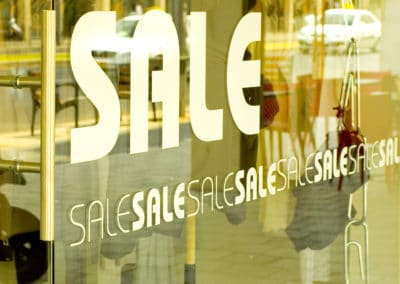 Sale Sign on Glass Window, Instagram Effect
