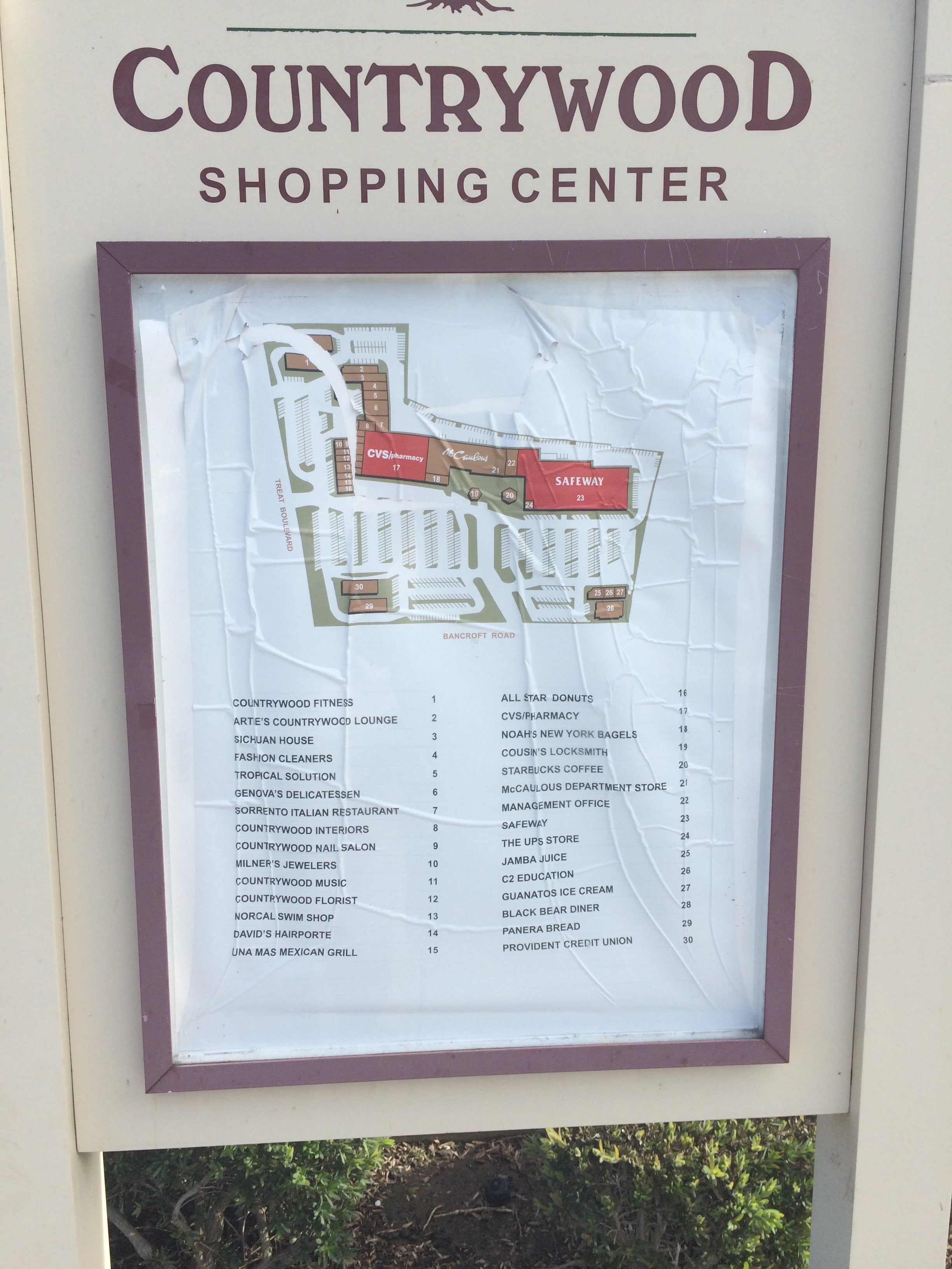 directory signs in walnut creek for countrywood shopping center