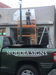 Installing channel letter sign in walnut creek