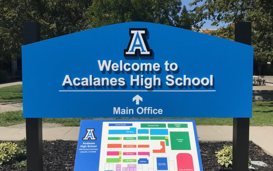 Monument sign and map for Acalanes High School in Lafayette