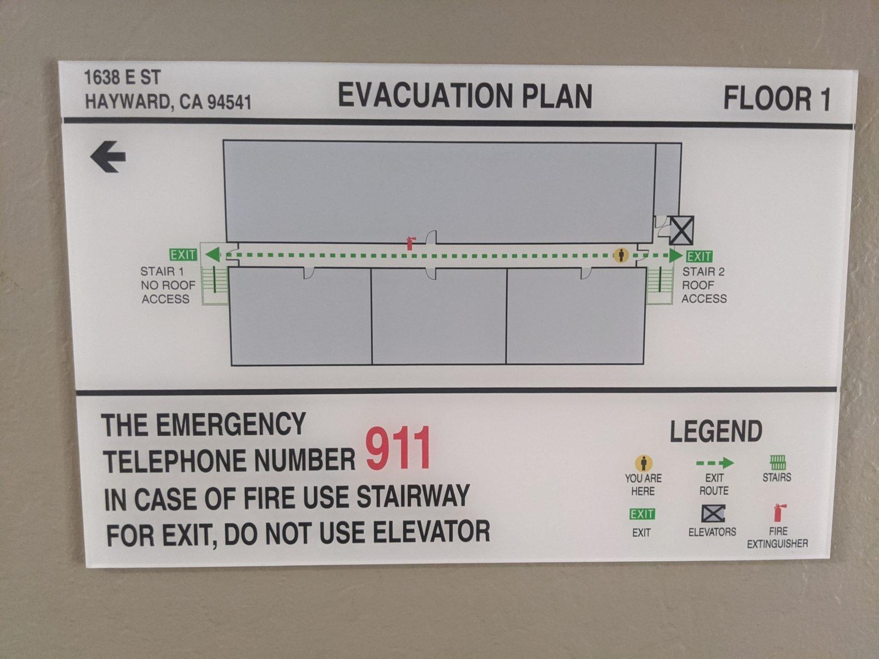 Evacuation Plan Signs - Sequoia Signs Martinez